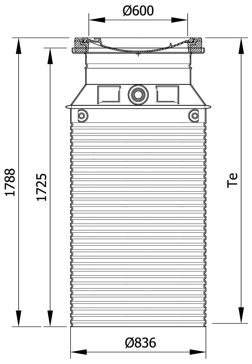 Esquema técnico da tampa ajustável para separador de gorduras. Inclui 1 tampa em betão Ø600 A15 e realce em polipropileno de alta densidade (HDPE) cinza de Ø836 H1788.