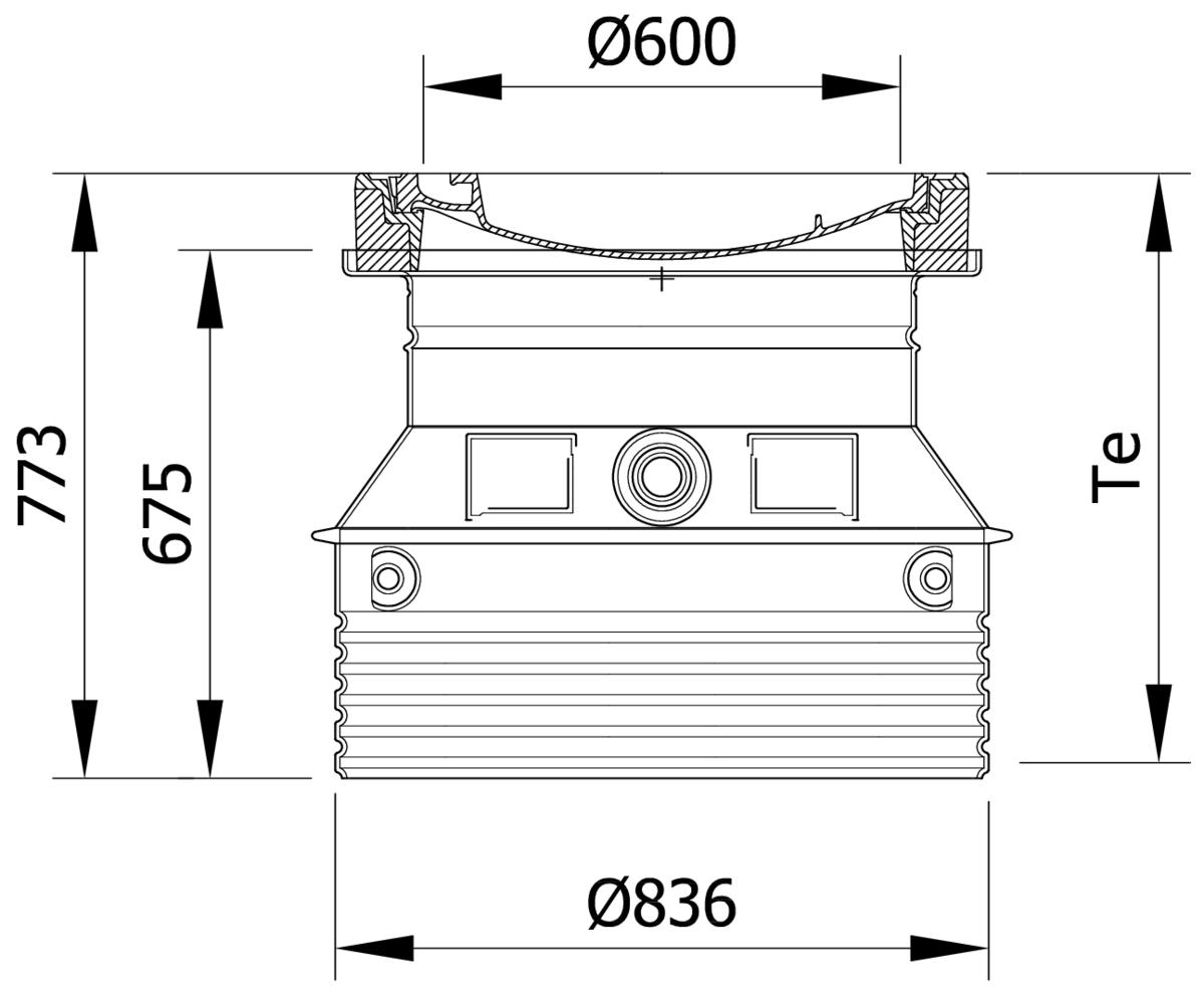 Esquema técnico da tampa ajustável para separador de gorduras. Inclui 1 tampa em fundição Ø600 B125 e realce em polipropileno de alta densidade (HDPE) cinza de Ø836 H774.