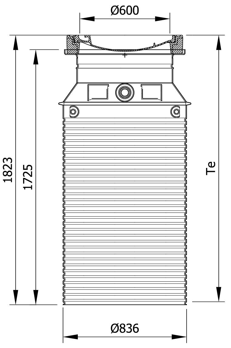 Esquema técnico da tampa ajustável para separador de gorduras. Inclui 1 tampa em fundição Ø600 D400 e realce em polipropileno de alta densidade (HDPE) cinza de Ø836 H1823.