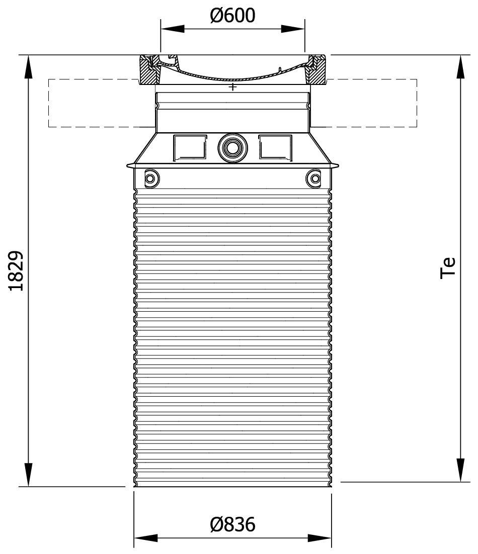 Esquema técnico da tampa ajustável para separador de gorduras. Inclui 1 tampa em fundição Ø600 D400 e realce em polipropileno de alta densidade (HDPE) cinza de Ø836 H1829 requer placa de distribução.