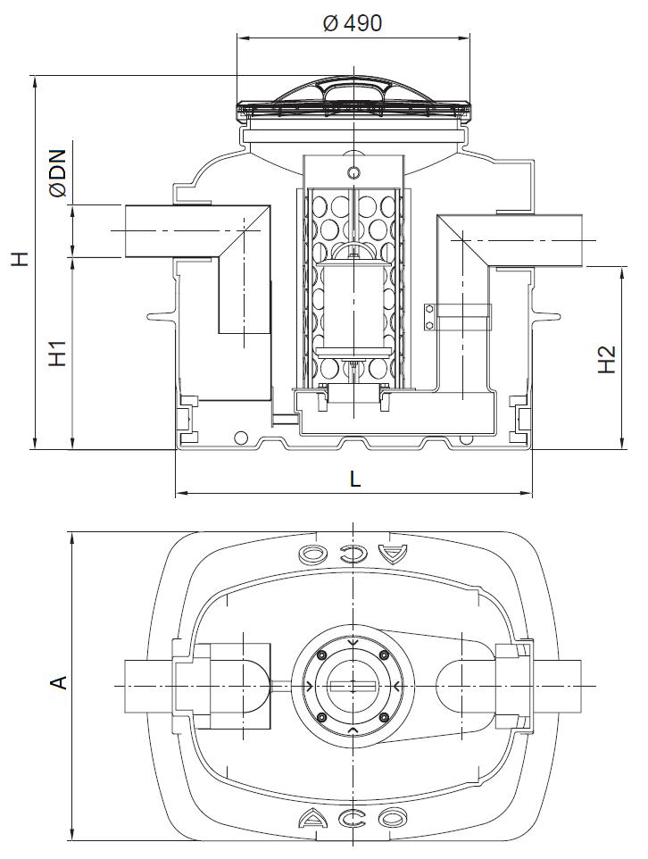 Esquema técnico do separador de hidrocarbonetos aéreo COALISATOR-P NST em polietileno de alta densidade (HDPE).