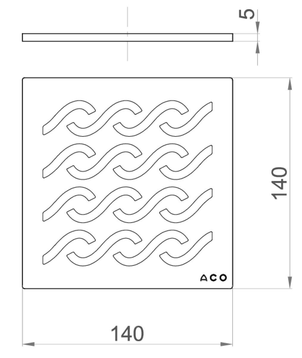 Esquema técnico da grelha para sumidouro EASYFLOW, grelha hawaii em aço inoxidável AISI304 da dimensões L140 A140 H5 sem sistema de fixação, classe de carga K3.
