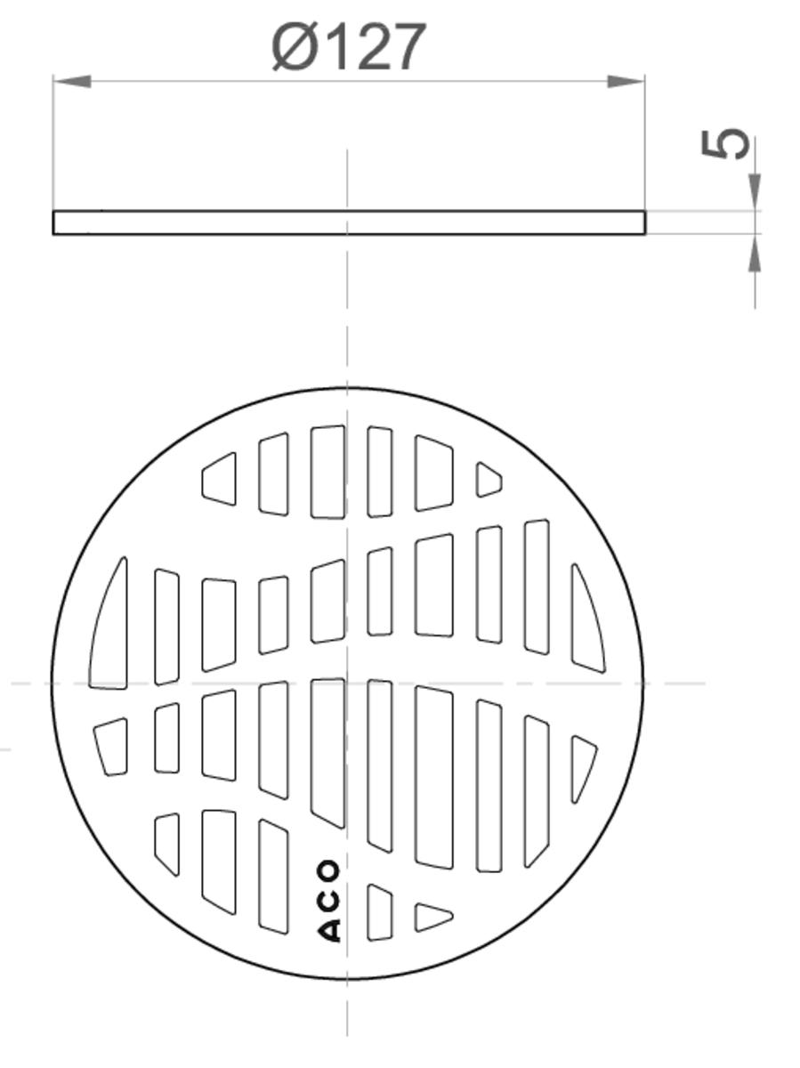 Esquema técnico da grelha para sumidouro EASYFLOW, grelha forest em aço inoxidável AISI304 da dimensões Ø127 H5 sem sistema de fixação, classe de carga K3.