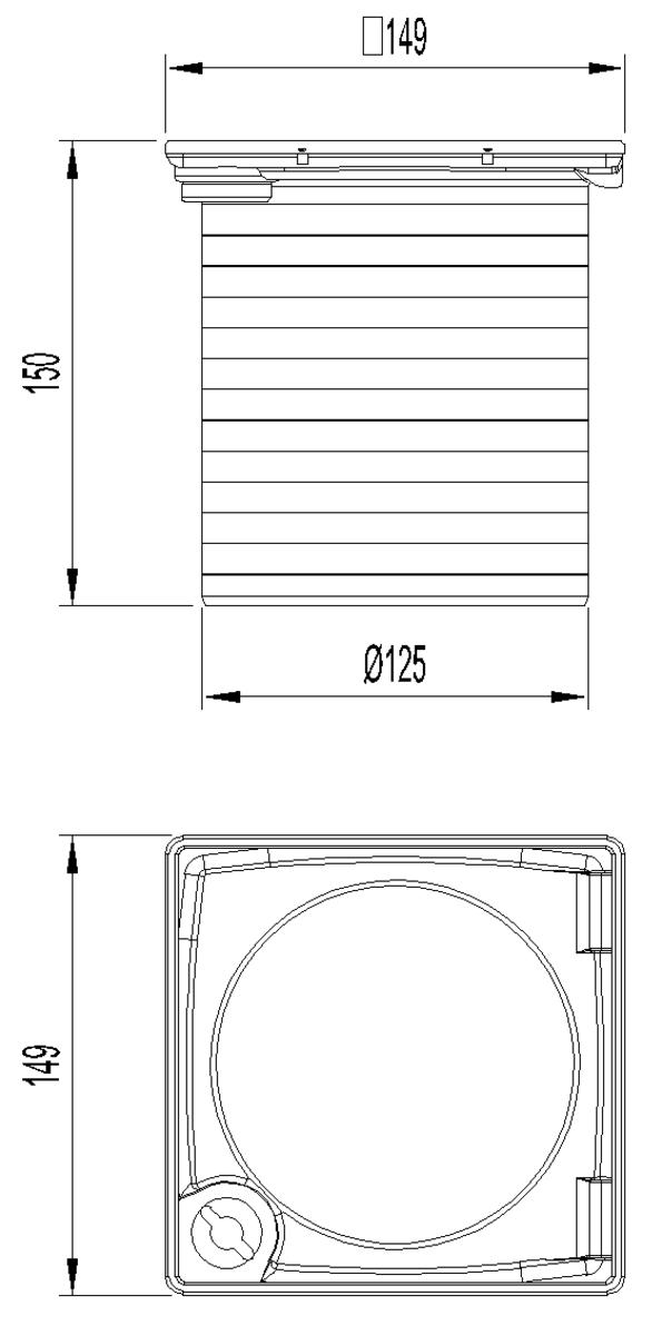Esquema técnico da secção de topo do sumidouro EASYFLOW, fabricado em plástico ABS, de dimensões L150 A150 H150 fundo Ø125, sem grelha.
