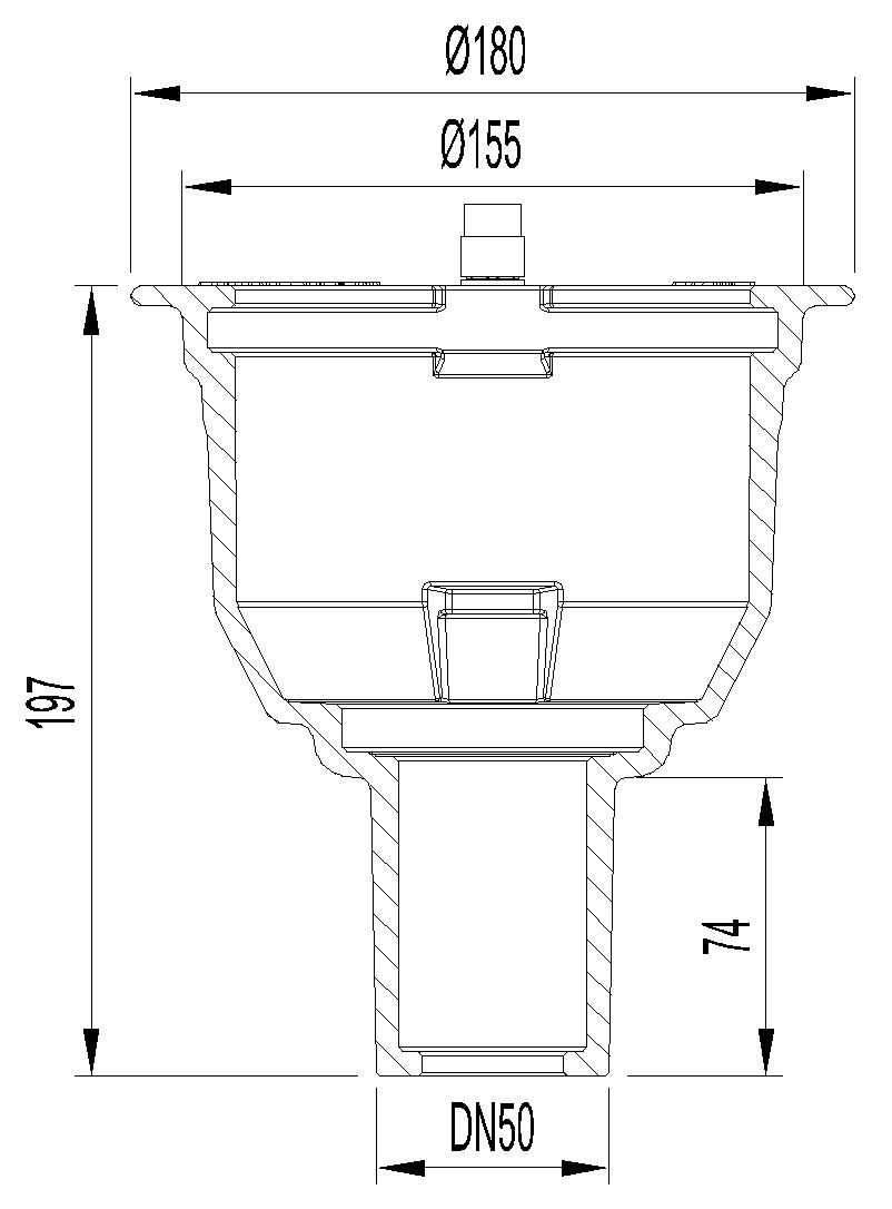 Esquema técnico do corpo de ralo NEW SELECTA, fabricado em fundição com pintura bituminosa, de dimensões Ø155 H194, sem aro, saída vertical DN50, sem sifão.
