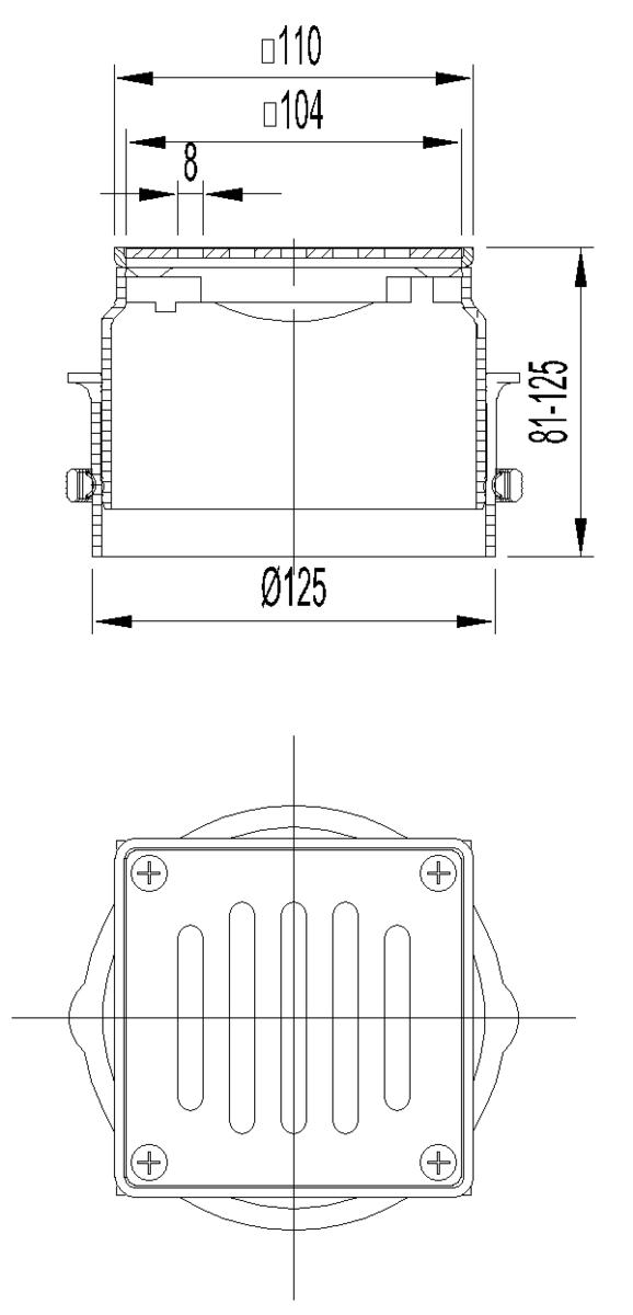 Esquema técnico da secção de topo do sumidouro NEW SELECTA, fabricado em plástico ABS, de dimensões L111 A111 H125 fundo Ø125, com grelha meku lisa com fixação em aço inoxidável AISI304 classe de carga K3.