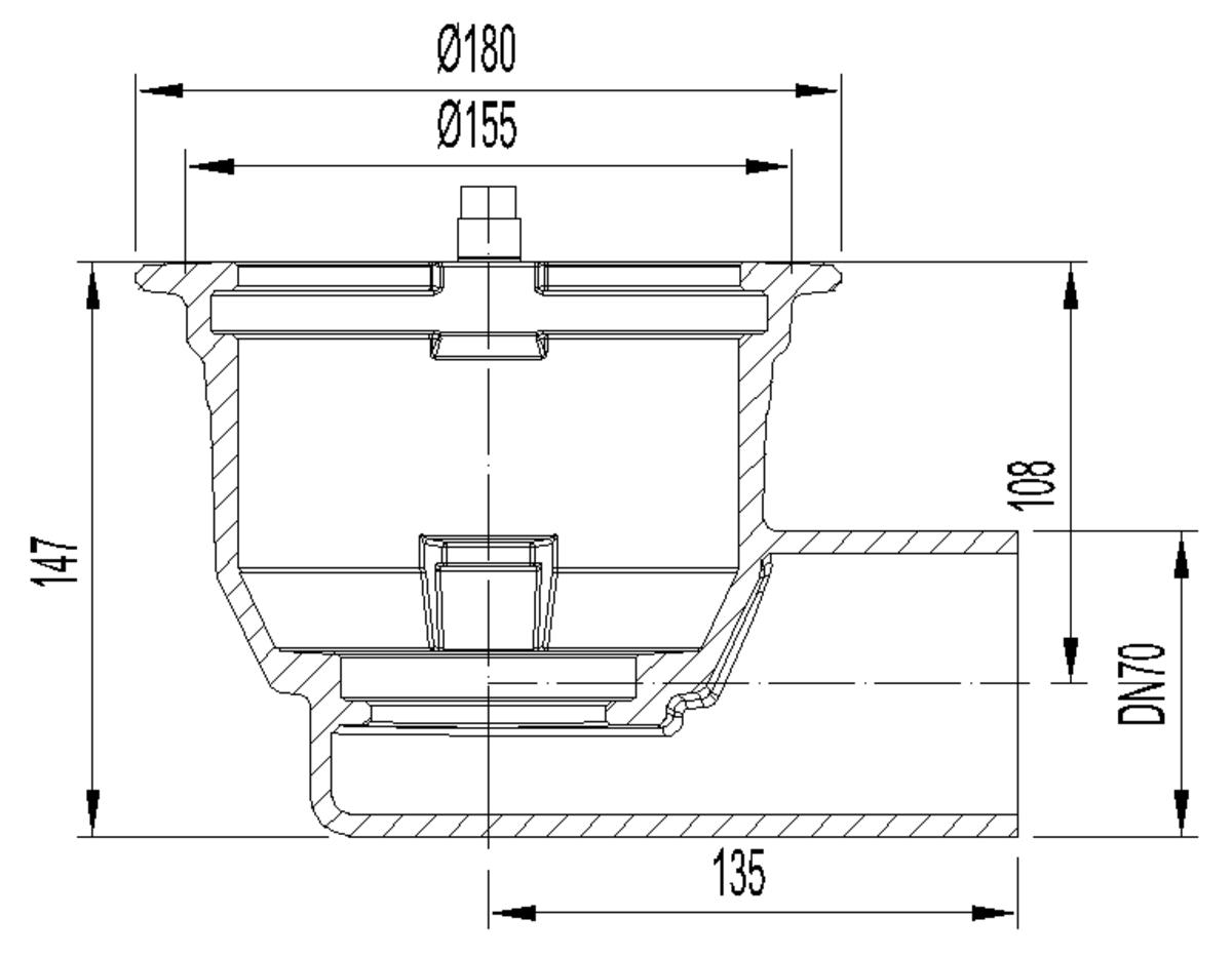 Esquema técnico do corpo de ralo NEW SELECTA, fabricado em fundição com pintura bituminosa, de dimensões Ø155 H147, sem aro, saída horizontal DN70, sem sifão.