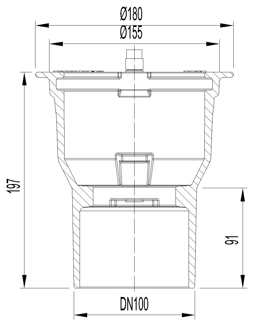 Esquema técnico do corpo de ralo NEW SELECTA, fabricado em fundição com pintura bituminosa, de dimensões Ø155 H197, sem aro, saída vertical DN100, sem sifão.