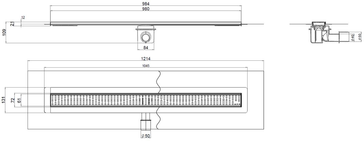Esquema técnico del canal con tela SHOWERDRAIN-B L985 A70 H109 en acero inoxidable AISI304 con salida horizontal DN/OD 40/50 y con reja wave en acero inoxidable AISI304.