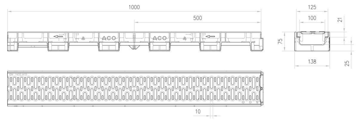 Esquema técnico del conjunto de canal XTRADRAIN 100 L1000 H75 en composite plásico con premarca para salida vertical DN/OD 110 y reja pasarela en acero galvanizado A15 con sistema de fijación Drainlock