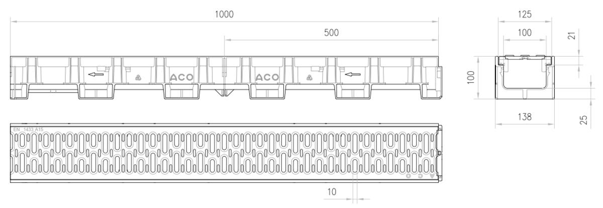 Esquema técnico do conjunto de canal XTRADRAIN 100 L1000 H100 em composite plástico com pré-marca para saída vertical DN/OD 110 e grelha passarela em aço galvanizado A15 com sistema de fixação Drainlock