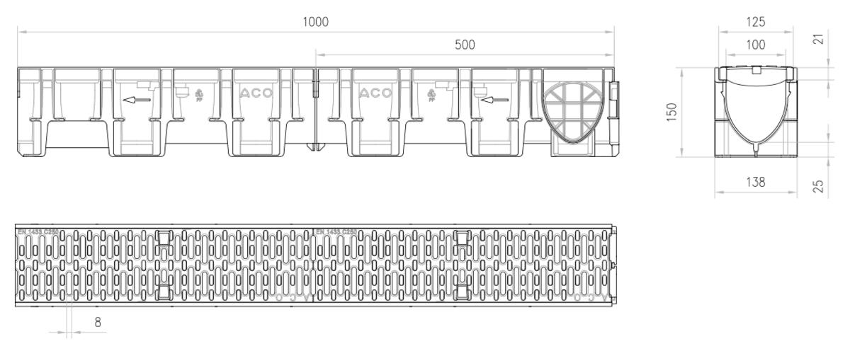 Esquema técnico del conjunto de canal XTRADRAIN 100 L1000 H150 en composite plásico con premarca para salida vertical DN/OD 110 y reja pasarela en fundición B125 con sistema de fijación Drainlock