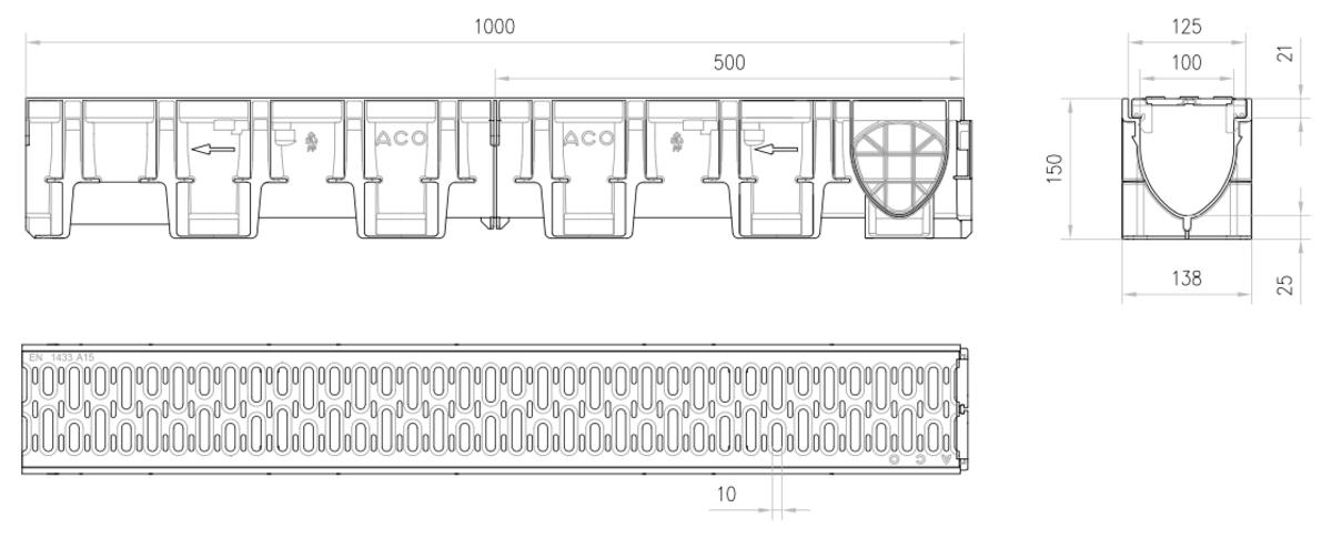 Esquema técnico do conjunto de canal XTRADRAIN 100 L1000 H150 em composite plástico com pré-marca para saída vertical DN/OD 110 e grelha passarela em aco galvanizado A15 com sistema de fixação Drainlock