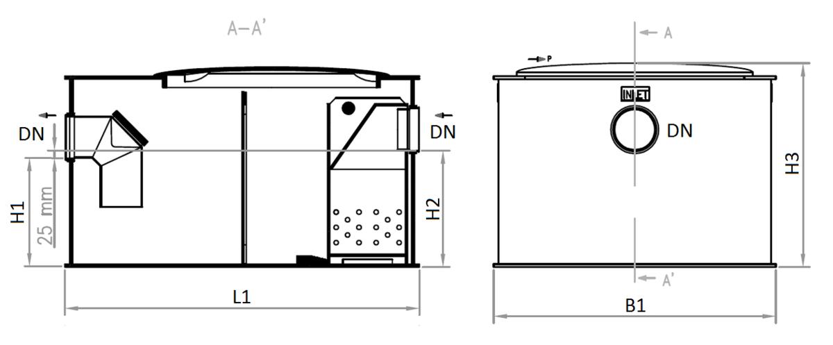 Esquema técnico del separador de grasas biológico aéreo FSP NS2 de polietileno,  de dimensiónes L610 A520 H440