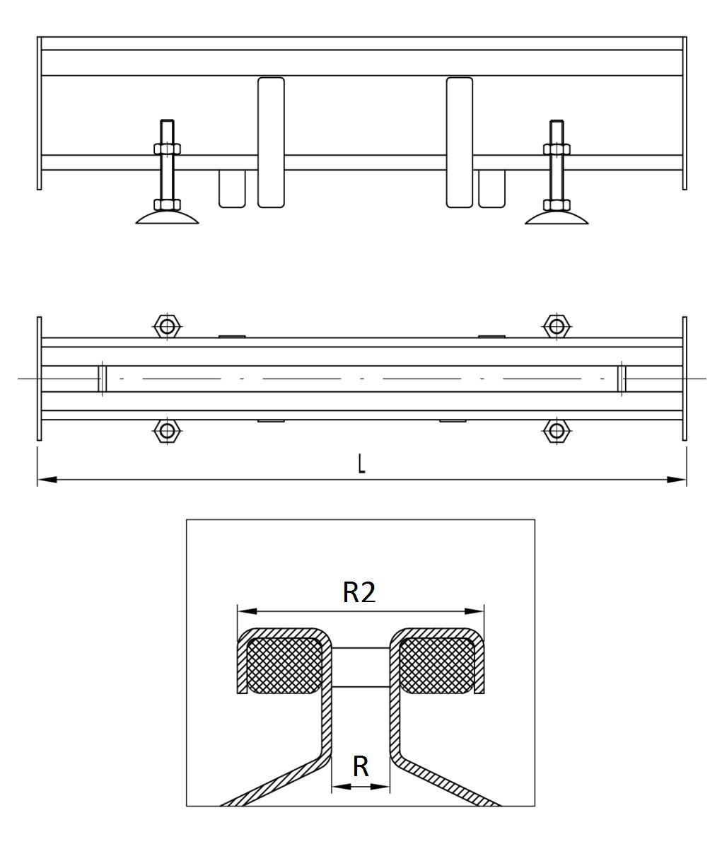Esquema técnico general do canal RANHURADO ESP em aço inoxidável AISI304 com detalhe da ranhura e junta.