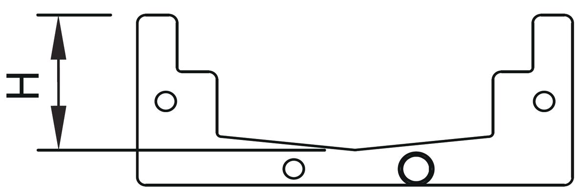Esquema técnico da junta plana em NBR para canal MODULAR 125.