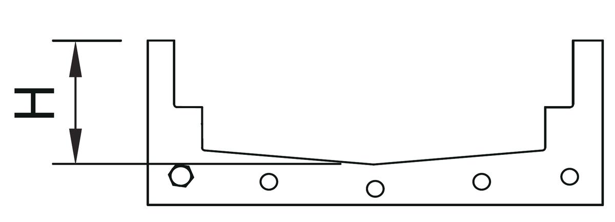 Esquema técnico da junta plana em NBR para canal MODULAR 200.