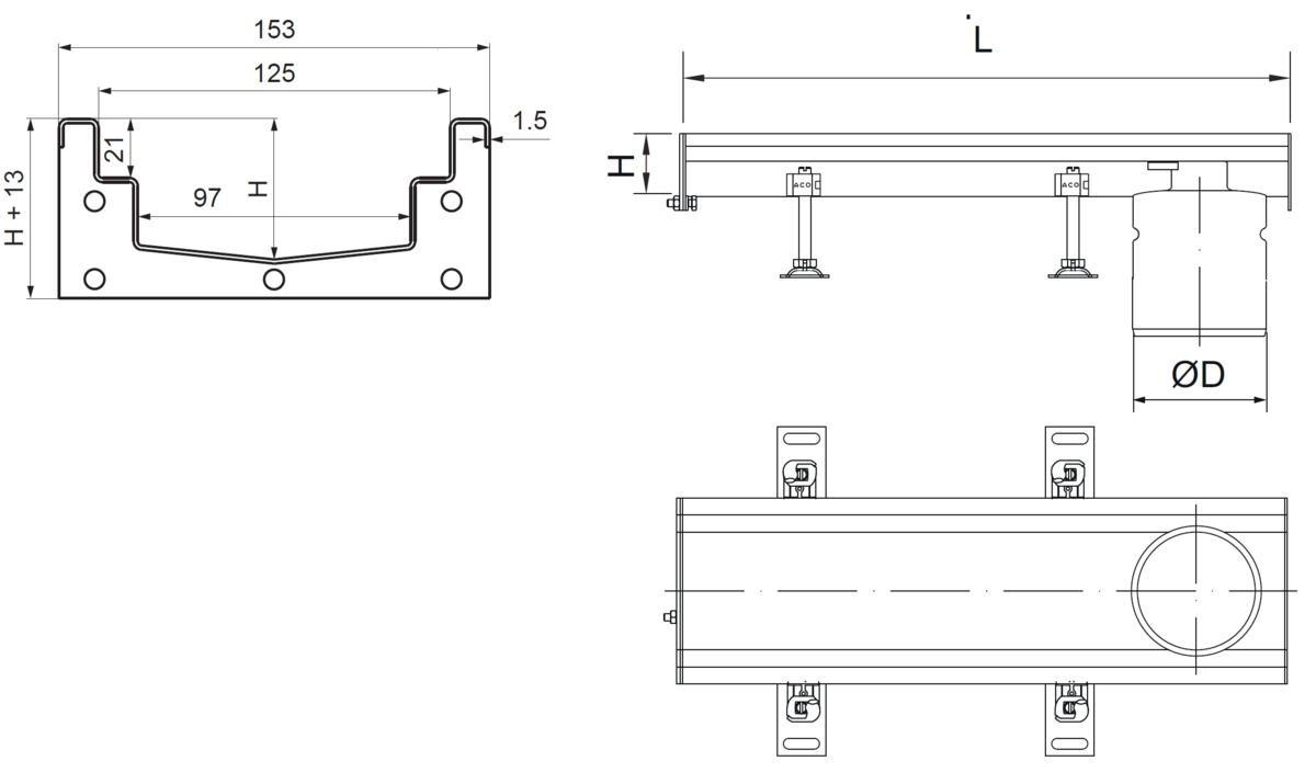 Esquema técnico del canal Modular 125 L500 H63 de altura interior H50 en acero inoxidable AISI304 on salida final DN/OD 110