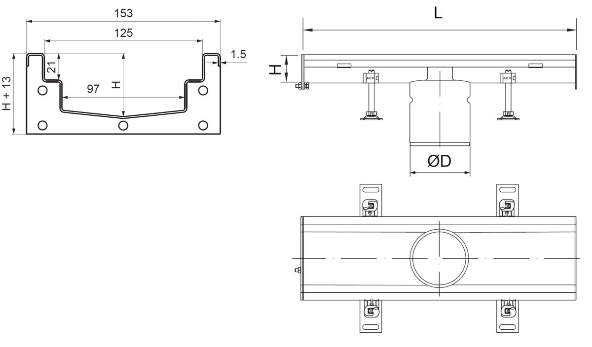 Esquema técnico del canal Modular 125 L500 H63 de altura interior H50 en acero inoxidable AISI304 on salida central DN/OD 110