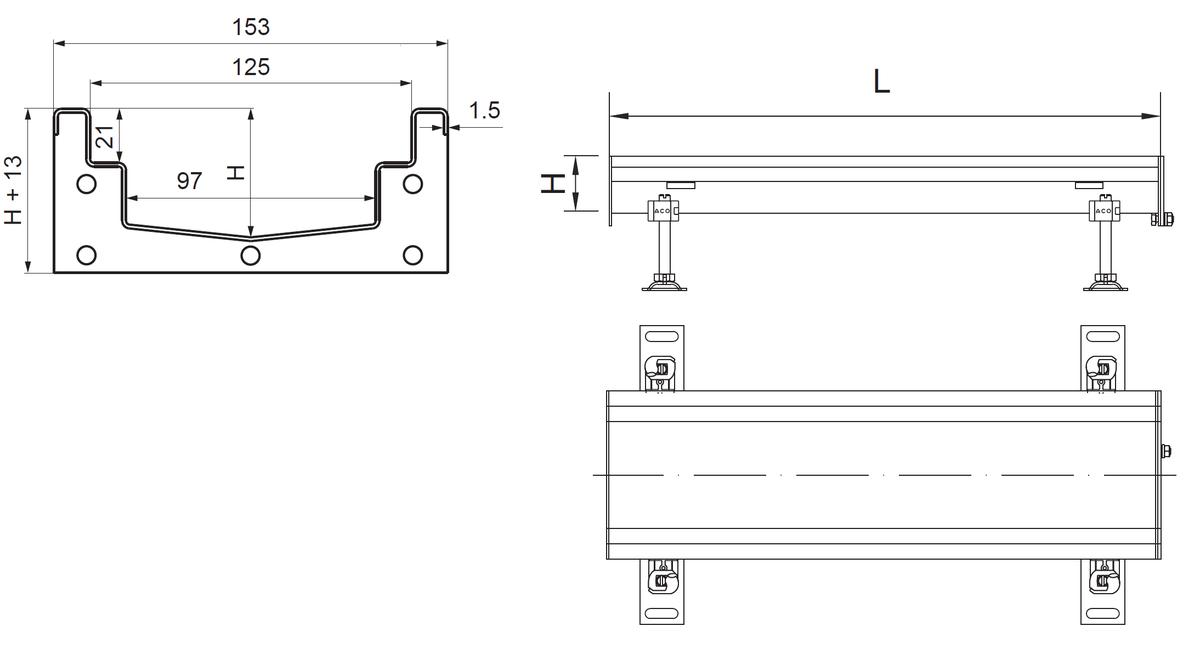 Esquema técnico del canal Modular 125 L500 H63 de altura interior H50 en acero inoxidable AISI304
