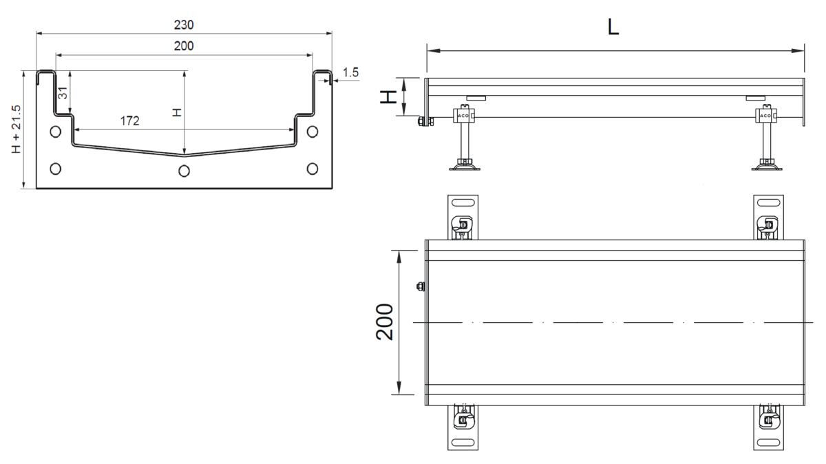 Esquema técnico del canal Modular 200 L500 H81,5 de altura interior H60 en acero inoxidable AISI304