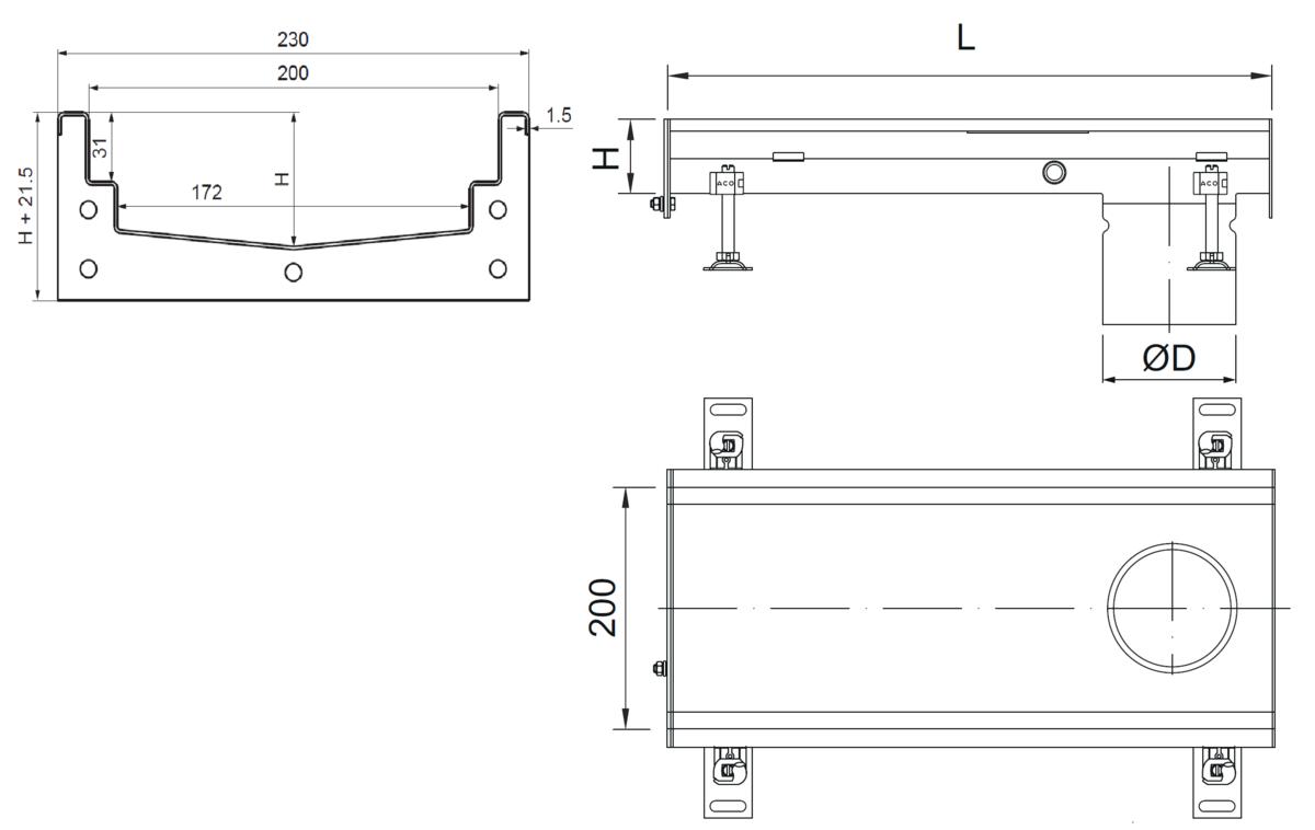 Esquema técnico del canal Modular 200 L500 H81,5 de altura interior H60 en acero inoxidable AISI304 on salida final DN/OD 110