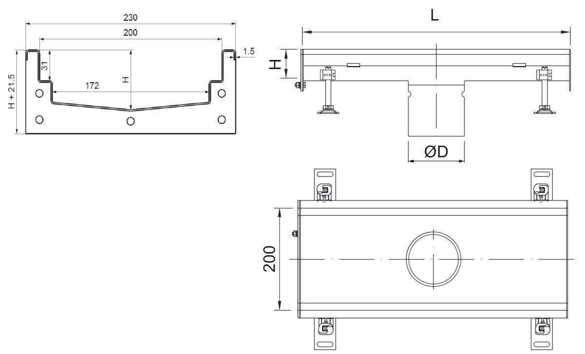 Esquema técnico del canal Modular 200 L500 H81,5 de altura interior H60 en acero inoxidable AISI304 on salida central DN/OD 110