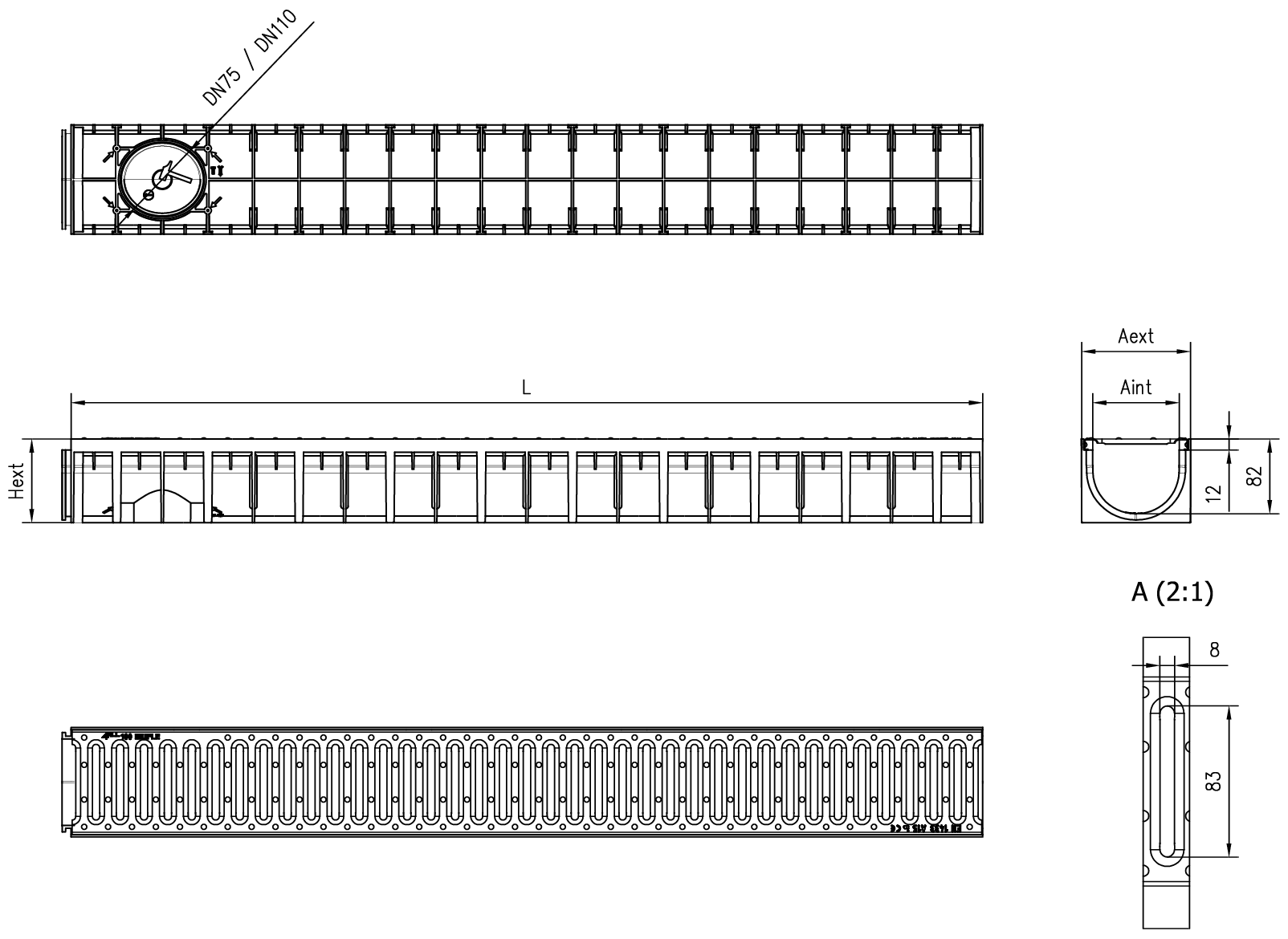 Esquema técnico del canal MUFLE 4ALL H92 en polipropileno negro con reja pasarela de acero inoxidable AISI304 clase de carga A15.