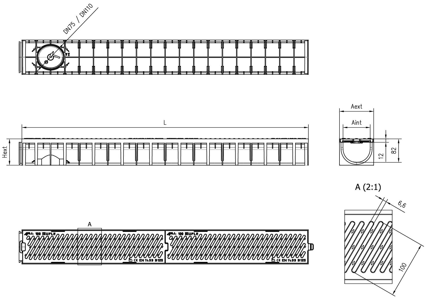 Esquema técnico do canal MUFLE 4ALL H92 em polipropileno preto com grelha passarela em fundição classe de carga B125.