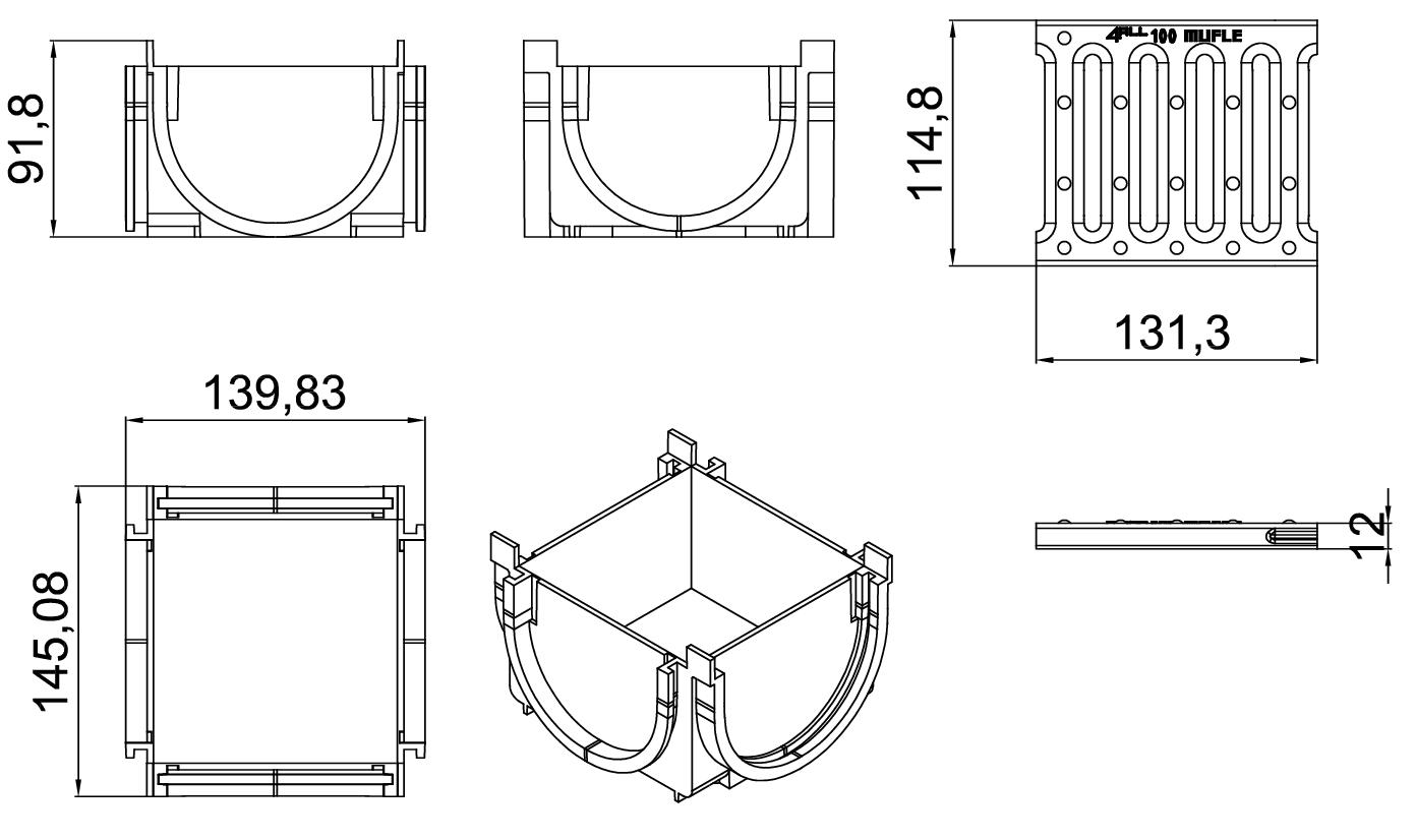 Esquema técnico da esquina para o canal MUFLE 4ALL 100 em polietileno de alta densidade (HDPE) preto, de L145 A120 H92, com grelha passarela em aço galvanizado classe de Carga A15.