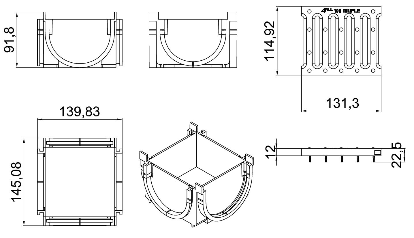 Esquema técnico da esquina para o canal MUFLE 4ALL 100 em polietileno de alta densidade (HDPE) cinza, de L145 A120 H92, com grelha passarela em polietileno de alta densidade cinza classe de Carga A15.