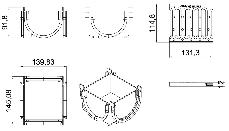 Esquema técnico de la esquina para el canal MUFLE 4ALL 100 en polietileno de alta densidad (HDPE) negro, de L145 A120 H92, con reja pasarela de acero inoxidable AISI304 clase de carga A15.