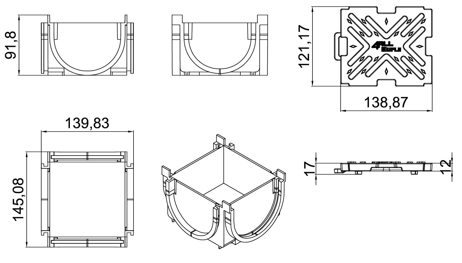 Esquema técnico da esquina para o canal MUFLE 4ALL 100 em polietileno de alta densidade (HDPE) negro, de L145 A120 H92, com grelha passarela em fundição classe de carga B125.