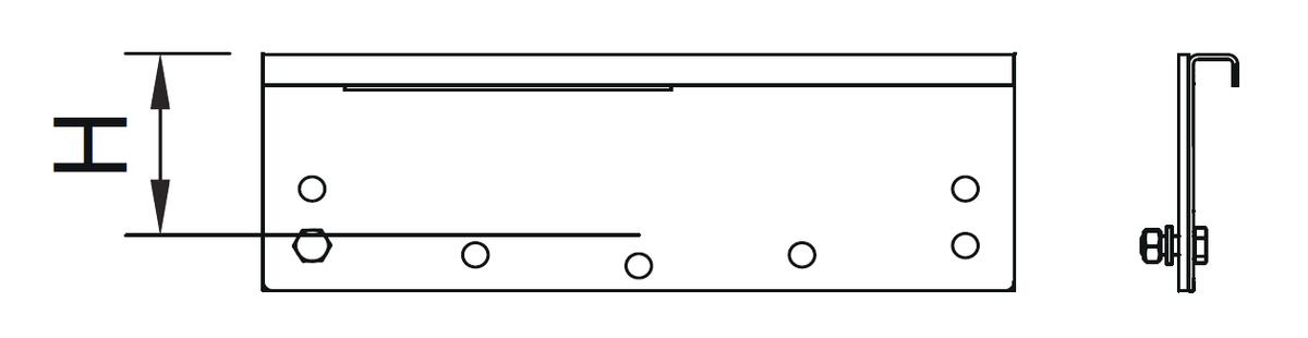 Esquema técnico general da tampa final do canal modular 200