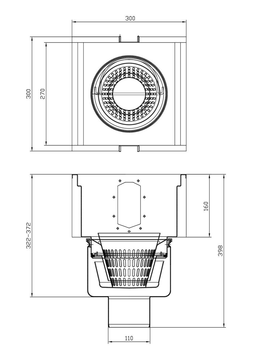 Esquema técnico del sumidero completo para el canal RANURADO ESP H140 L300 A300 H398 de acero inoxidable AISI304, sin reja, salida vertical DN110, con sifón y cestillo.