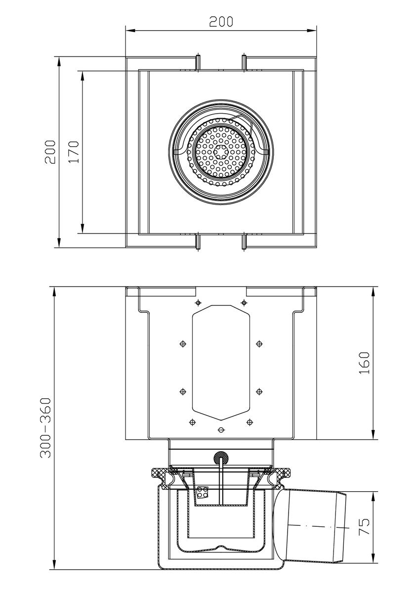 Esquema técnico del sumidero completo para el canal RANURADO ESP H140 L200 A200 H300 de acero inoxidable AISI304, sin reja, salida horizontal DN75, con sifón y cestillo.