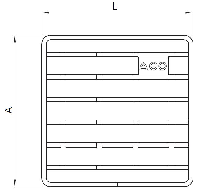 Esquema técnico general da grelha para sumidouro EG, grelha de barras antiderrapantes em aço inoxidável AISI304 da dimensões Lvar Avar sem sistema de fixação.