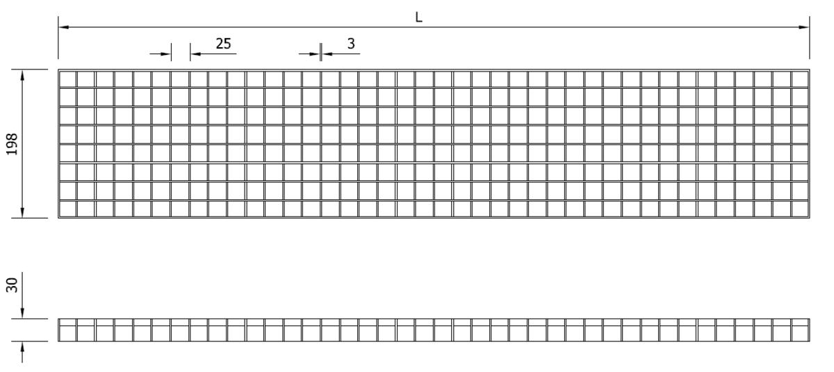 Esquema técnico general da grelha para canal Modular 200, grelha entramada antiderrapante 25x25 em aço inoxidável AISI304 da dimensões A198 sem sistema de fixação.