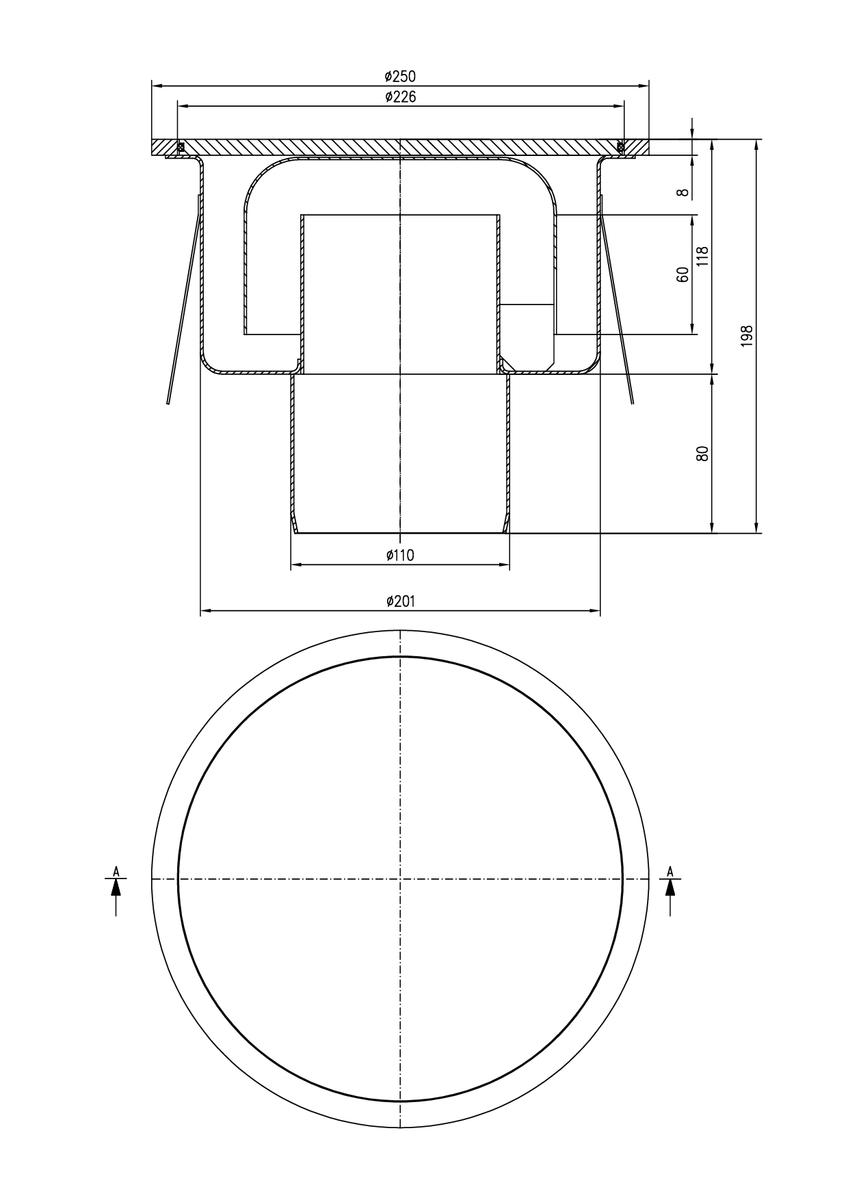 Esquema técnico do sumidouro industrial SELECT, fabricado em acero inoxidável AISI304, de dimensões Ø250 H195 fundo Ø201, saída vertical DN110, com sifão, com grelha estanque para una carga 30kN.