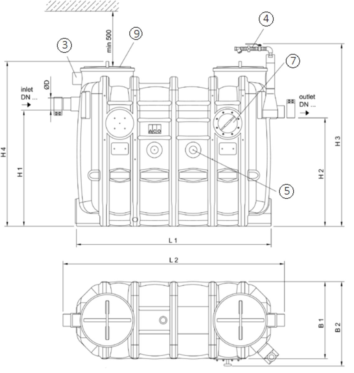 Esquema técnico generico del separador de grasas aéreo LIPUJET-P-OB de polietileno de alta densidad (HDPE), ovalado.