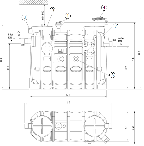 Esquema técnico generico del separador de grasas aéreo LIPUJET-P-OD de polietileno de alta densidad (HDPE), ovalado, extensión con tubo de succión (D).