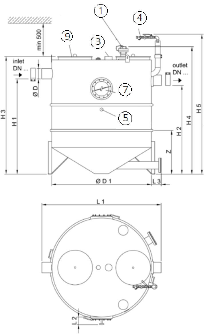 Esquema técnico generico del separador de grasas aéreo LIPUJET-S-RD de acero inoxidable AISI316, redondo, extensión con tubo de succión (D).