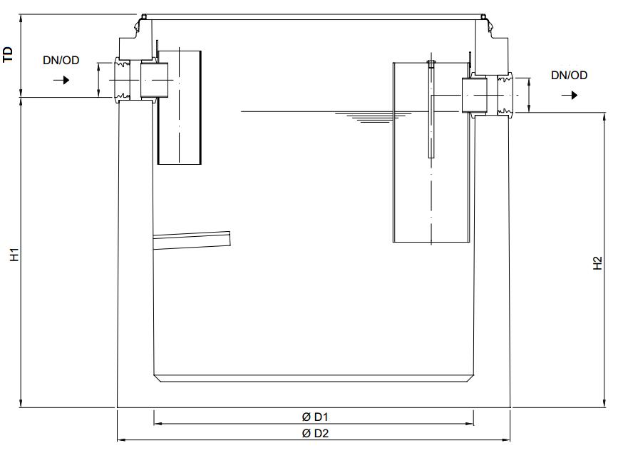 Esquema técnico generico del separador de grasas enterrado LIPUMAX-C-B FST em betão armado.