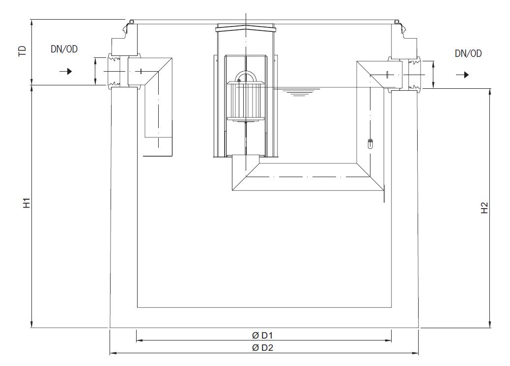 Esquema técnico de los separadores de hidrocarburos OLEOPATOR-C de hormigón con decantador de lodos integrado