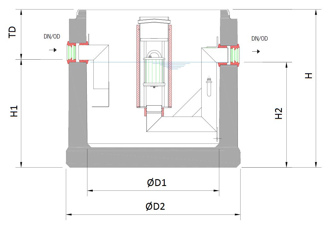 Esquema técnico general do separador de hidrocarbonetos enterrado OLEOPATOR-C NST NS1-50 em betão armado.