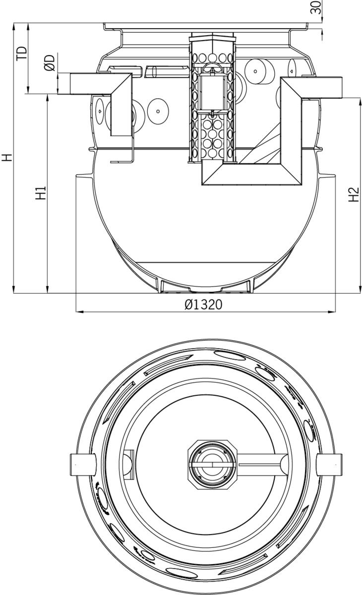 Esquema técnico general do separador de hidrocarbonetos enterrado OLEOPATOR-P FST em polietileno de alta densidade (HDPE), vertical.