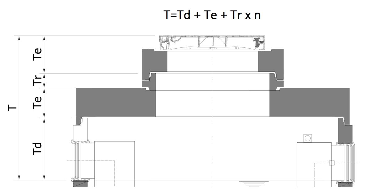Esquema de montagem das tampas dos separadores de concreto com dimensões Tmin-Tmax