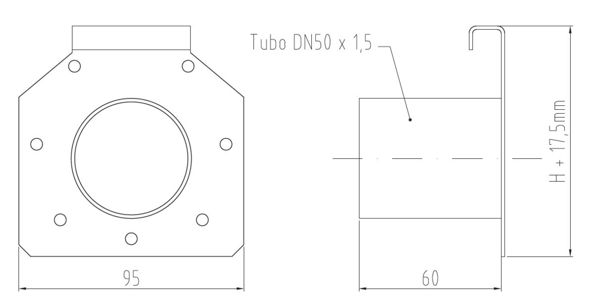 Esquema técnico general de la tapa inicio/final con manguito DN/OD 50 para el canal RANURADO ESP en acero inoxidable.