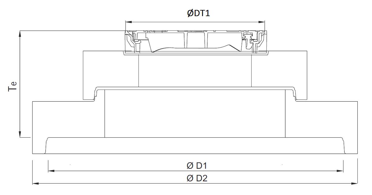 Esquema técnico general da tampa ajustável para separador de hidrocarbonetos. Inclui 1 tampa em fundição e realce em betão.