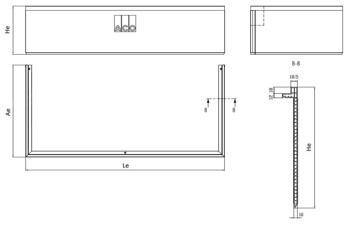 Esquema técnico generico do realce de claraboia THERM, realce de altura ajustável H30/300.